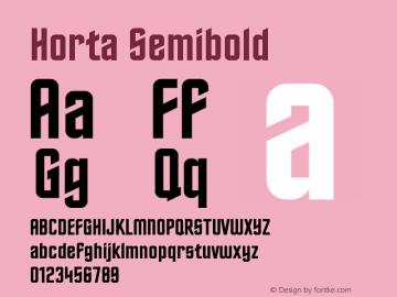 Horta Semibold Version 0.8 Font Sample