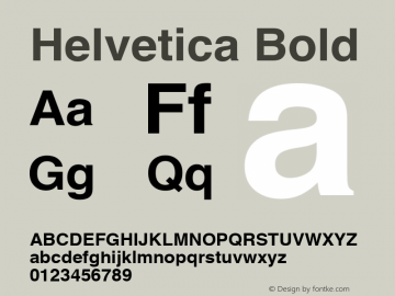 Helvetica Bold 1.0 Font Sample