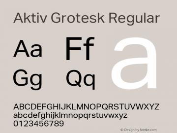Aktiv Grotesk Regular Version 1.002 Font Sample