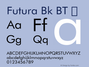 Futura Bk BT Font, Font  This font is intended for CSS @font-face