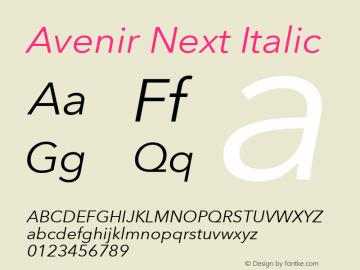 Avenir Next Italic 8.0d5e5 Font Sample