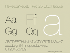 HelveticaNeueLT Pro 25 UltLt Regular Version 1.000;PS 001.000;Core 1.0.38 Font Sample