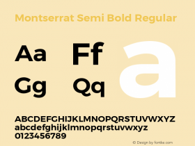 Montserrat Semi Bold Regular Version 3.001;PS 003.001;hotconv 1.0.70;makeotf.lib2.5.58329 DEVELOPMENT Font Sample