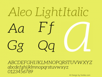 Aleo LightItalic Version 1.2.2 Font Sample