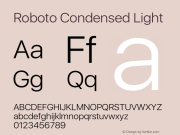 Roboto Condensed Light Version 2.00 May 29, 2016 Font Sample