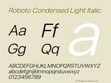 Roboto Condensed Light Italic Version 2.00 May 29, 2016 Font Sample