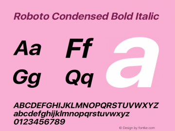 Roboto Condensed Bold Italic Version 2.00 May 29, 2016 Font Sample
