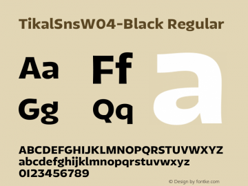 TikalSnsW04-Black Regular Version 1.00 Font Sample