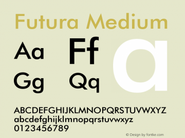Futura Medium 2.0-1.0 Font Sample