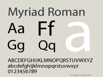 Myriad Roman 001.000 Font Sample