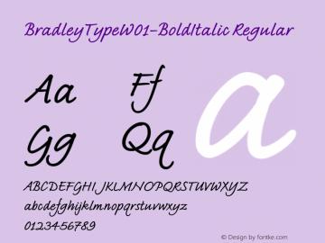 BradleyTypeW01-BoldItalic Regular Version 1.02 Font Sample