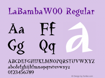 LaBambaW00 Regular Version 1.00 Font Sample