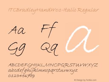 ITCBradleyHandW01-Italic Regular Version 1.1 Font Sample