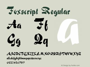 Foxscript Regular Altsys Metamorphosis:4/16/92 Font Sample