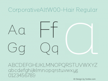 CorporativeAltW00-Hair Regular Version 1.00 Font Sample