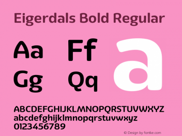 Eigerdals Bold Regular Version 3.00 Font Sample