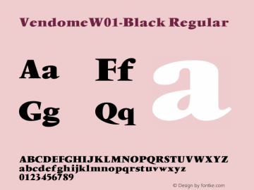 VendomeW01-Black Regular Version 1.01 Font Sample