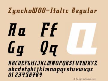 ZynchoW00-Italic Regular Version 1.00图片样张