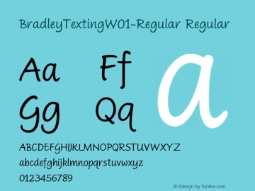 BradleyTextingW01-Regular Regular Version 1.0 Font Sample