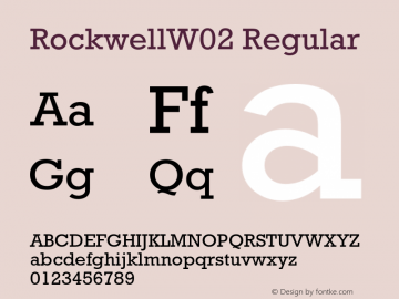 RockwellW02 Regular Version 1.02 Font Sample
