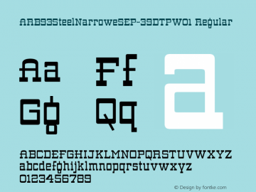 ARB93SteelNarroweSEP-39DTPW01 Regular Version 1.00 Font Sample