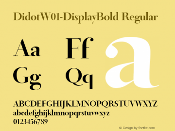DidotW01-DisplayBold Regular Version 1.00 Font Sample