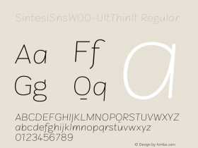 SintesiSnsW00-UltThinIt Regular Version 1.00 Font Sample