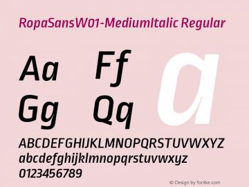 RopaSansW01-MediumItalic Regular Version 1.10图片样张