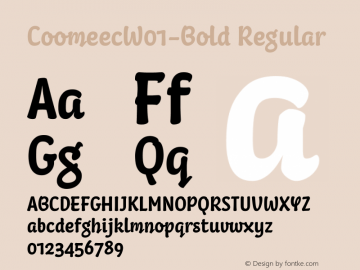 CoomeecW01-Bold Regular Version 1.00 Font Sample