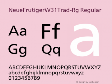 NeueFrutigerW31Trad-Rg Regular Version 1.00 Font Sample