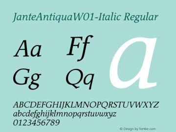 JanteAntiquaW01-Italic Regular Version 1.02图片样张