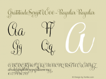 GratitudeScriptW00-Regular Regular Version 1.00 Font Sample