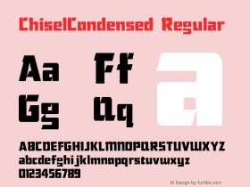 ChiselCondensed Regular The IMSI MasterFonts Collection, tm 1995 IMSI Font Sample