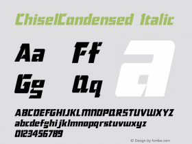ChiselCondensed Italic The IMSI MasterFonts Collection, tm 1995, 1996 IMSI (International Microcomputer Software Inc.) Font Sample