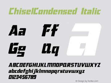 ChiselCondensed Italic The IMSI MasterFonts Collection, tm 1995, 1996 IMSI (International Microcomputer Software Inc.) Font Sample
