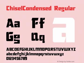 ChiselCondensed Regular The IMSI MasterFonts Collection, tm 1995, 1996 IMSI (International Microcomputer Software Inc.) Font Sample