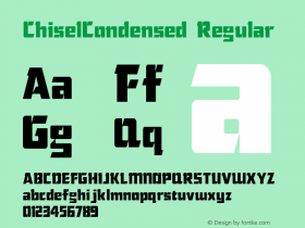 ChiselCondensed Regular Accurate Research Professional Fonts, Copyright (c)1995 Font Sample