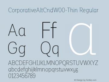 CorporativeAltCndW00-Thin Regular Version 1.00 Font Sample