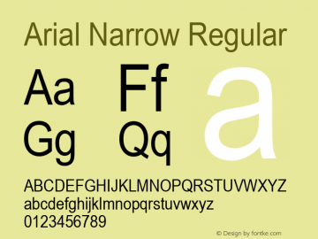 Arial Narrow Regular Version 1.50 Font Sample