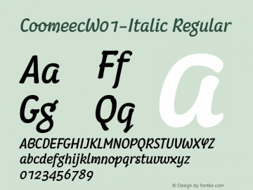 CoomeecW01-Italic Regular Version 1.00 Font Sample