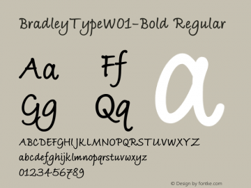 BradleyTypeW01-Bold Regular Version 1.02 Font Sample