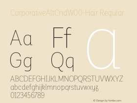 CorporativeAltCndW00-Hair Regular Version 1.00 Font Sample