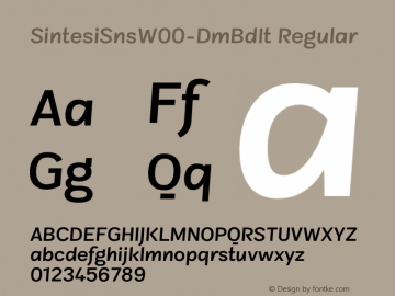 SintesiSnsW00-DmBdIt Regular Version 1.00 Font Sample