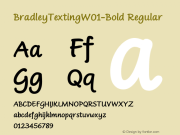 BradleyTextingW01-Bold Regular Version 1.0 Font Sample