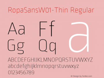 RopaSansW01-Thin Regular Version 1.10图片样张