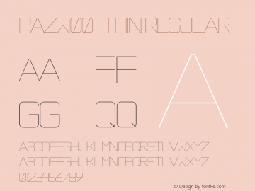 PazW00-Thin Regular Version 1.1 Font Sample