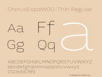 ChorusExpdW00-Thin Regular Version 1.10 Font Sample