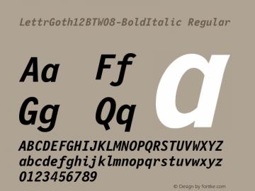LettrGoth12BTW08-BoldItalic Regular Version 1.00 Font Sample