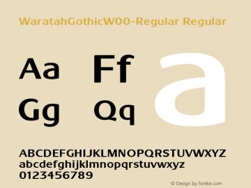WaratahGothicW00-Regular Regular Version 1.00 Font Sample