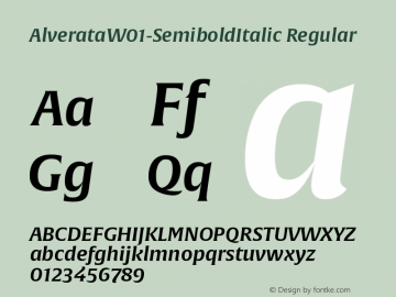 AlverataW01-SemiboldItalic Regular Version 1.10 Font Sample